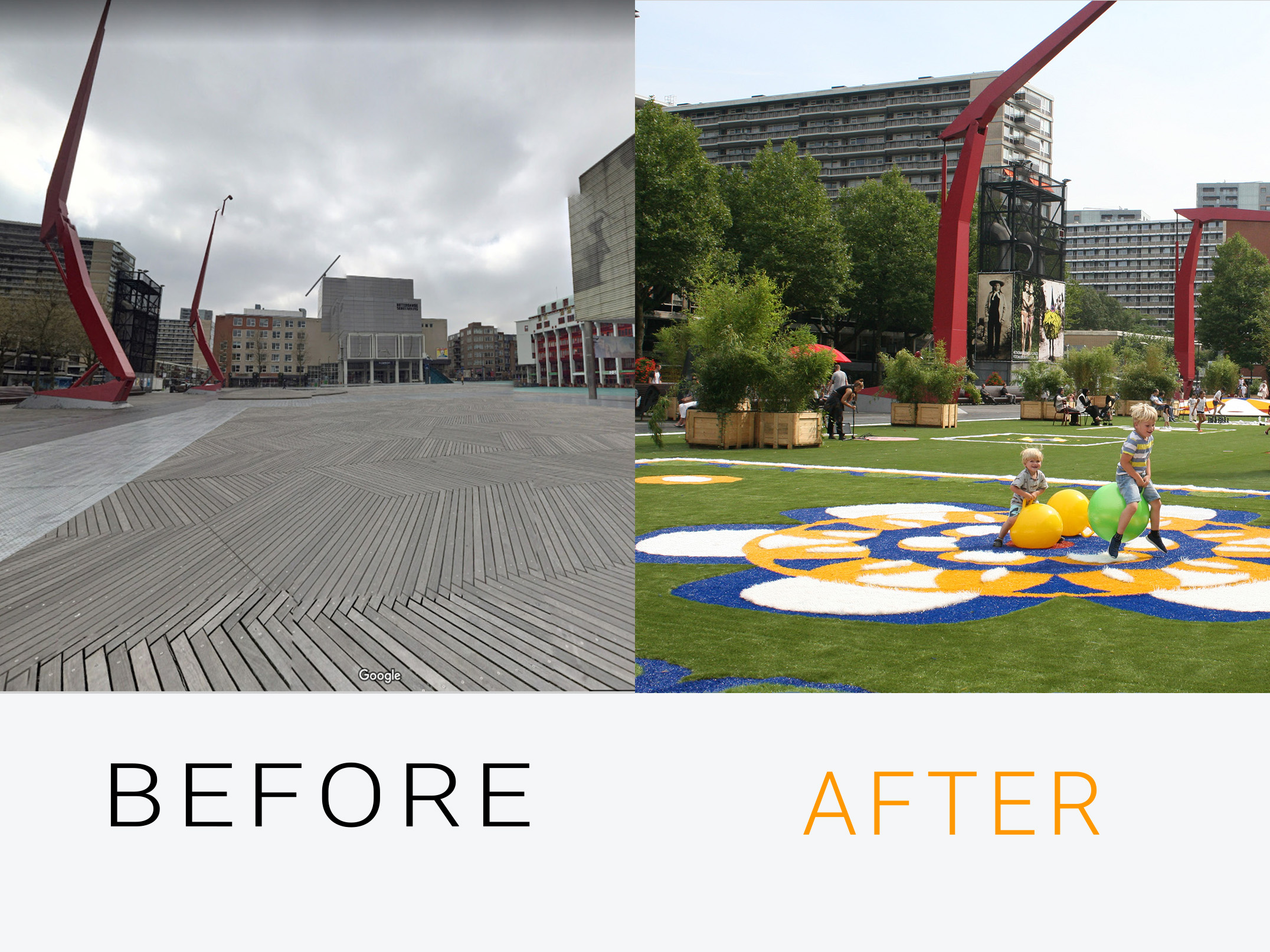 before after schouwburgplein rotterdam the flying grass carpet giant